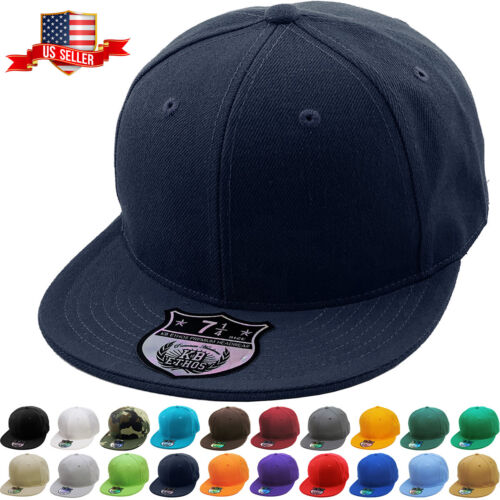 Premium Solid Fitted Cap Baseball Cap Hat, Flat Bill / Brim NEW <br/> 9 Sizes - KBETHOS Hats Since 2001 / New York, NY