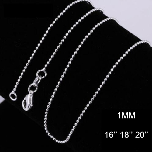 Stunning 925 Sterling Silver 1MM Classic Ball Dot Necklace Chain Wholesale Price