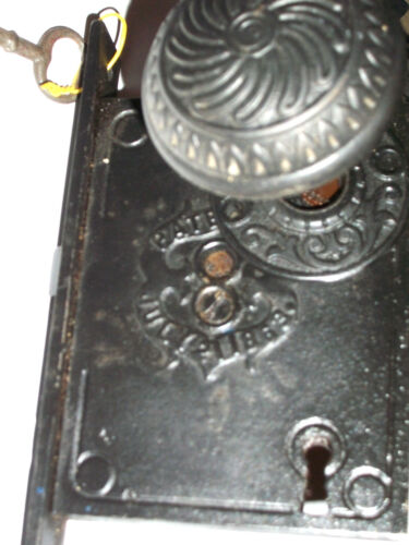 Antique Mortise Lock Patented July 2, 1863 With Knobs, Rosettes, and Key <br/>Locks & Keys - 37915
