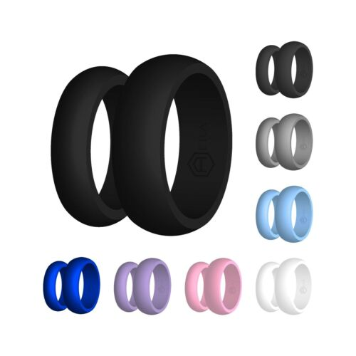 Silicone Wedding Band Engagement Ring FlexFit Hypoallergenic Mens Womens Jewelry <br/> US Made - Perfect Fit Guarantee - Ships Same Day Free!