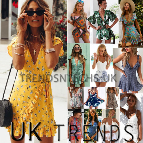 UK Womens Holiday Mini Playsuit Ladies Jumpsuit Summer Beach Dress Size 6 - 14 <br/> ❤2017 BRAND NEW STYLE❤UK SAMEDAY DISPATCH ❤FAST &amp; FREE❤