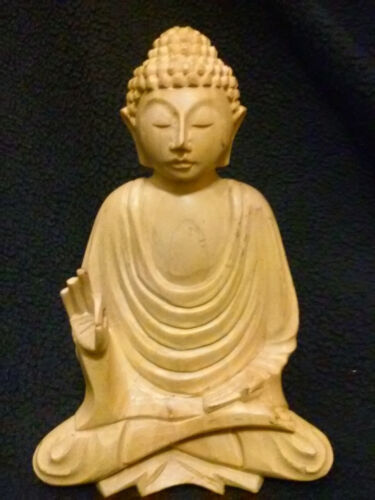 Solid Wood Hand Carved Buddha Sidharta Sculpture Statue<br/>Other Asian Antiques - 2194