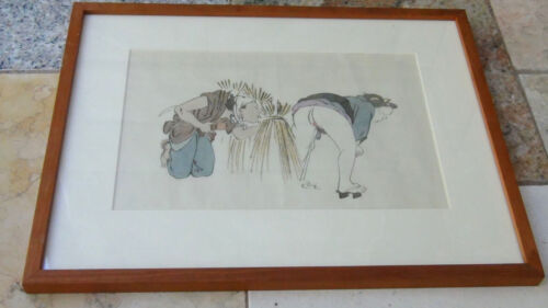 EARLY 20c JAPANESE SHUNGA WOODBLOCK PRINT GALLERY FRAMED  # 4 out of 8<br/>Prints - 38126