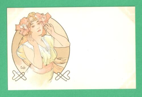 EARLY ALPHONSE MUCHA ART NOUVEAU POSTCARD BEAUTIFUL LADY FLORAL HEADPIECE