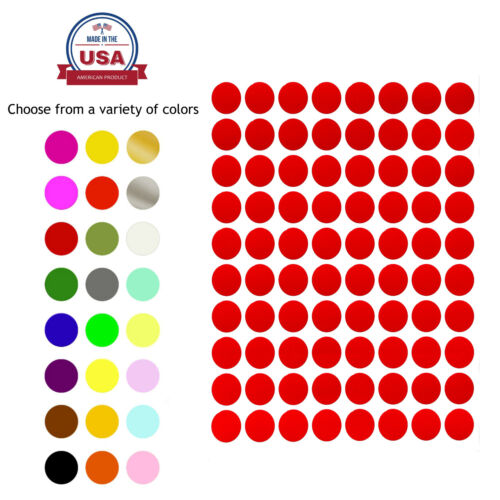Colored Dot Stickers Round Circle Label 1/2 13mm Crafts 1200 Pack by Royal Green <br/> COLOR CODING LABELS 13MM &frac12;  INCH SMALL ROUND MAP DOTS