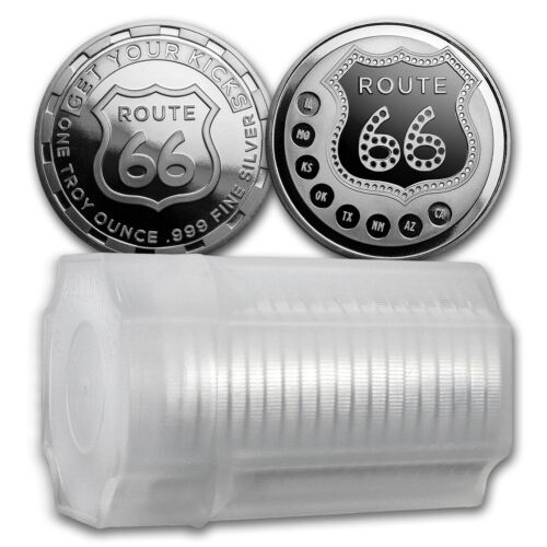 1 oz Silver Route 66 Round - (Lot, Roll, Tube of 20) - SKU #114814 <br/> Buy with confidence &amp; Free Shipping from APMEX on eBay!