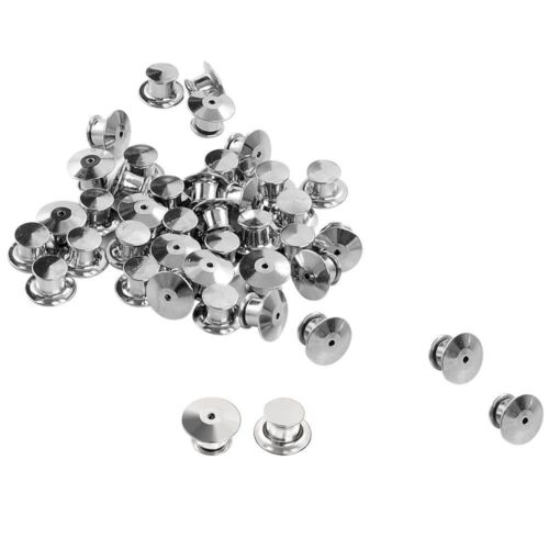 Outee 40 Pieces Pins Keepers Backs Locks Bulk, Metal Pin Backs Locking Clasp