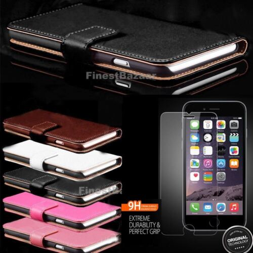 Genuine Leather Magnetic Flip Wallet Case Cover For Apple iPhone 8 7 Plus 6S 5S <br/> 2 Free Tempered Glass |iPhone 5 5s Se| 5.00pm Dispatch