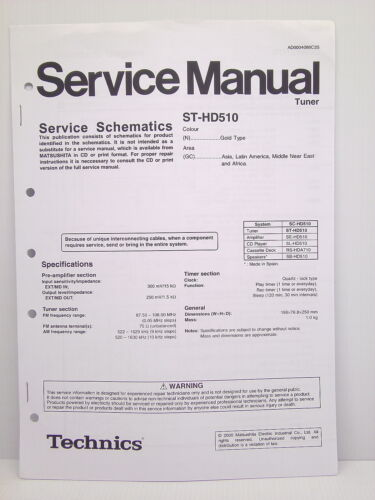 Technics Original Service Manual Schematics ST-HD510 Tuner