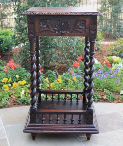 Antique French Carved Oak Barley Twist 2-Tier Side Cabinet Nightstand End Table<br/>1800-1899 - 162907