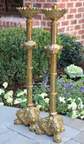 Antique French Brass Altar Candle Holders Lamps Paschal Candlesticks PAIR Angels<br/>Metalware - 1211