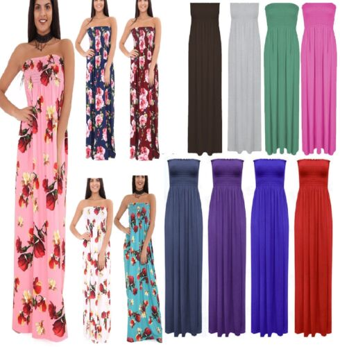 Women Ladies New Sheering Maxi Dress Boobtube Strapless Bandeau Long Top Summer