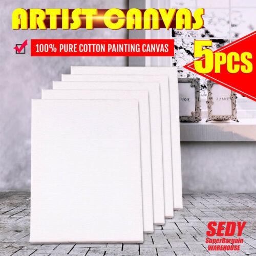 5x Blank Artist Stretched Canvas Canvases Art Large White Range Oil Acrylic Wood