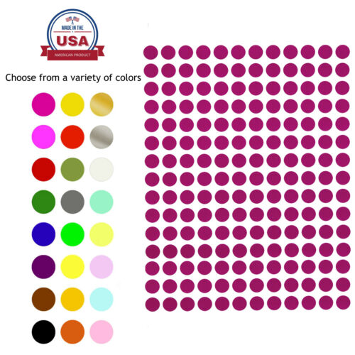 Dot Stickers ~1/4 Inch 8 mm Circular Small Round Color Coding Labels 900 Pack  <br/> COLOURED SPOT CIRCLES DOTS LABELS 8 COLORS 0.25 INCH