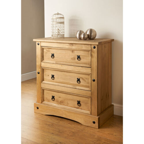 Corona 3 Drawer Chest of Drawers, Mexican Solid Pine, Rustic <br/> Cheapest On eBay ✔ Fast Free Delivery ✔ Easy Returns ✔
