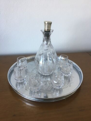 Beautiful Crystal Wine Decanter Set incl 6 glasses and s/steel etched tray 1950s