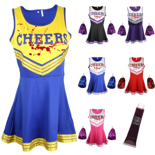 ZOMBIE CHEERLEADER HALLOWEEN FANCY DRESS OUTFIT COSTUME BLOOD VAMPIRE POM POMS <br/> UK Seller Fast Dispatch - ADD YOUR OWN BLOOD