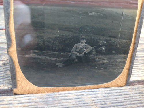 "Antique Glass Slide Negative ""A Man Sitting on a Golf Course"""