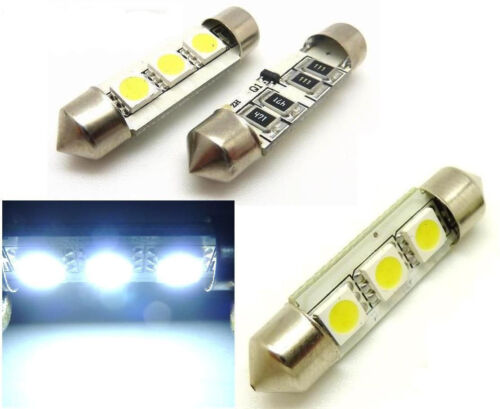 COPPIA LAMPADE SILURO 3 LED SMD BIANCHI CANBUS 36 MM *