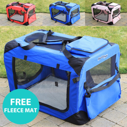 RayGar Fabric Soft Pet Crate Cat Dog Cage Carrier House Kennel Foldable Portable <br/> Top Pocket &amp; Side Bag - Free Fleece Mat - Best On Ebay!