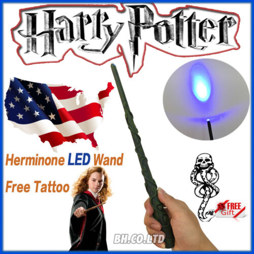 Harry Potter 13.4&quot; Hermione Magical Wand Replica LED Light Up In Box Free Tattoo <br/> 13.4&quot; 1:1 ,in box;with 1pcs Bumper sticker