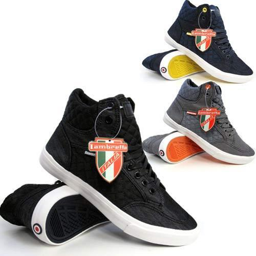 Mens Hi Tops Trainers LAMBRETTA Pumps Quilted Basketball Ankle Boots Shoes Size