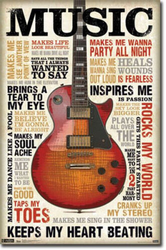 MUSIC INSPIRES ME - QUOTES POSTER - 22x34 MOTIVATIONAL GUITAR 5742