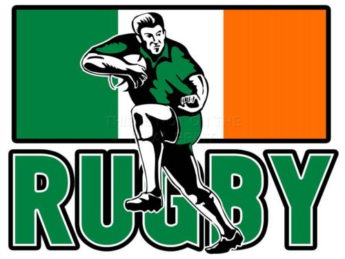 PRINT POSTER PAINTING SPORT IRELAND RUGBY FOOTBALL FLAG IRISH PLAYER LFMP0211