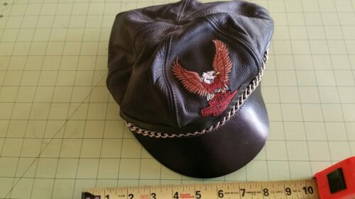 Vintage?  Harley Davidson Leather  Bill Cap with CHAIN  Bckle Strap  Nice shape <br/>Hats - 60220