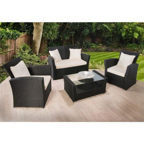 RATTAN GARDEN FURNITURE SET 4 PIECE CHAIRS SOFA TABLE OUTDOOR PATIO WICKER <br/> CHEAPEST IN THE UK - PRICES SLASHED UNTIL 29TH APRIL