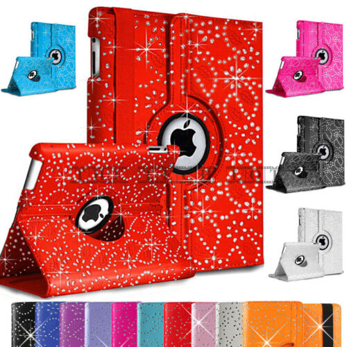 Apple iPad 2 3 4 iPad Air iPad Air2 Mini 2 3 4 Leather Bling 360&deg; Rotate Case  <br/> Premium Quality ✔Stand Smart Holder Diamond ✔UK Stock