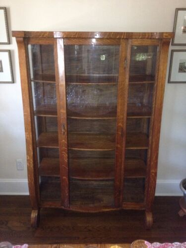 "Beautiful Antique Oak China Cabinet Curved Glass Front, Ca 1900  62""Hx42""Wx16""D"""