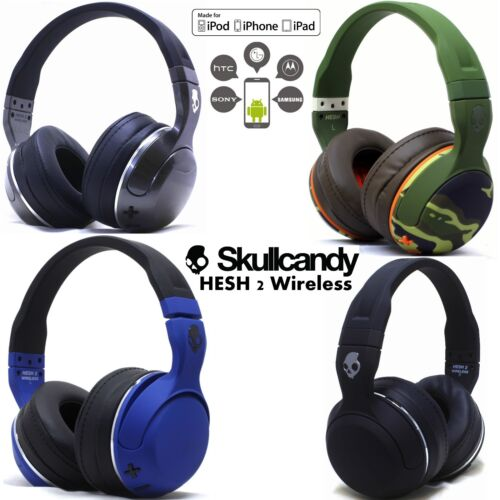 New Skullcandy Hesh 2 Bluetooth 4.0 Wireless Headphones Headset Blue Camo White <br/> Includes Carry pouch, Skullcandy Aux with Mic,&amp; Usb cbl