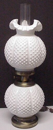 Fenton Milk Glass Hobnail Gone With The Wind Double Ball Lamp GWTW