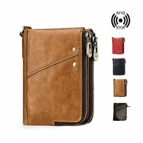 Mens RFID Small Wallet Genuine Leather Zip Around Purse Credit Card Coins Holder <br/> 😍Magnetic Bracelet👍Health Energy Jewelry🎁AU Stock