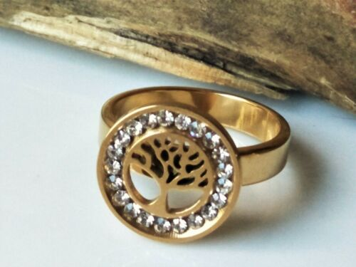 Viking Celtic Tree Of Life Ring Stainless Steel Gold Plated Size 7 (N1/2)