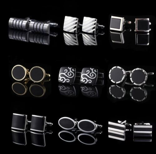 Black agate &  enamel Wedding Crystal Business Shirt Novelty men's cufflinks <br/> ✔Brand New ✔High Quality ✔Fast Delivery ✔Au Stock