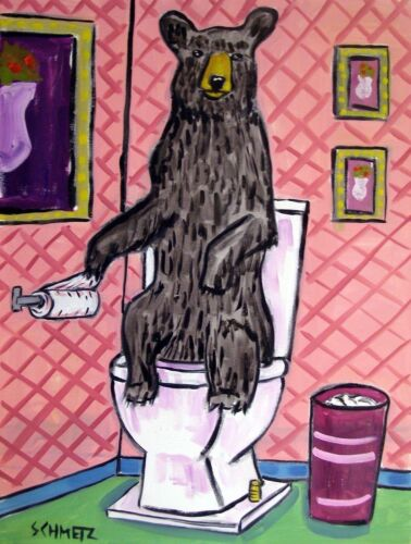 BLACK Brown bear bathroom 11x14 signed art artist print animals impressionism