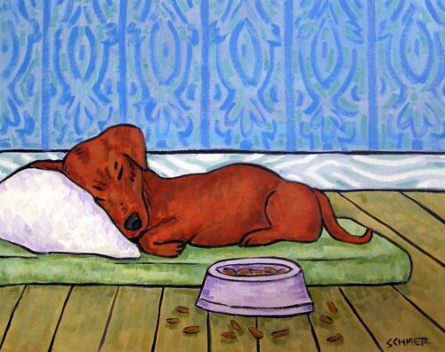 Dachshund sleeping with dog bowl signed dog art print 8x10