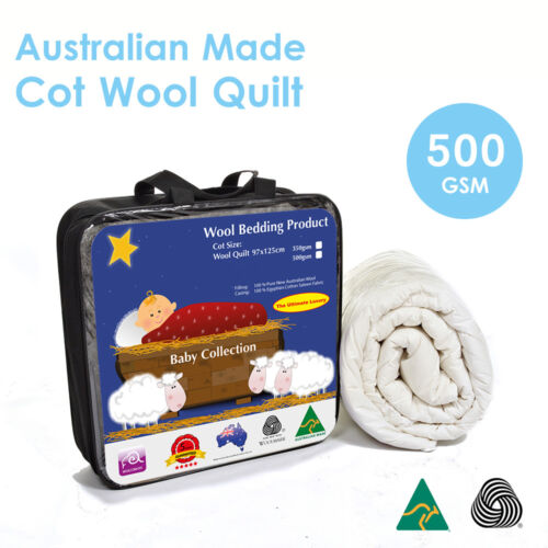 Aus Made Baby Cot Pure Wool Quilt Duvet Doona 500GSM-100%Natural Fibre-Baby Gift <br/> 5% OFF May Apply! Use PULL5 at Checkout. T&amp;Cs Apply.