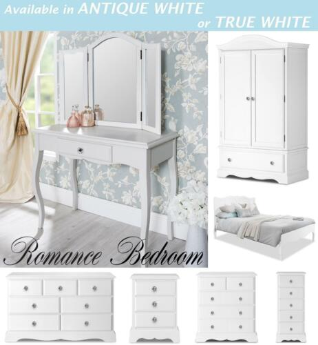 ROMANCE Shabby Chic Bedroom Furniture, chest of drawers, bedside table, wardrobe