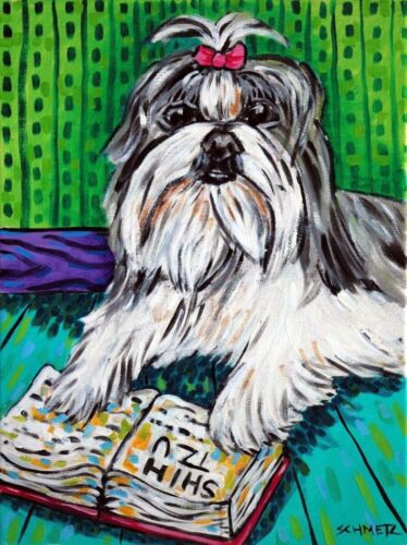 shih tzu dog signed artist art print 13x19 library wall art animals gift new