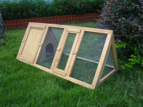 Wooden Triangle Rabbit Hutch and Run Cage Guinea Pig Ferret Coop Running Outdoor <br/> ✔ Best  Quality Online ✔ Fast Shipping ✔ UK SELLER