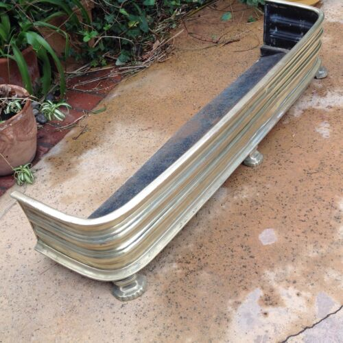 SOLID BRASS FIREPLACE FENDER 45 1/2 x 8 1/2&quot;<br/>Fireplaces & Mantels - 63518