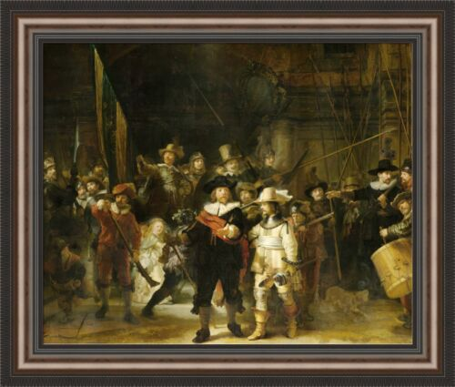 """Rembrandt The Nightwatch Framed Canvas Giclee Print 32""""x27"""" (V06-30)"""