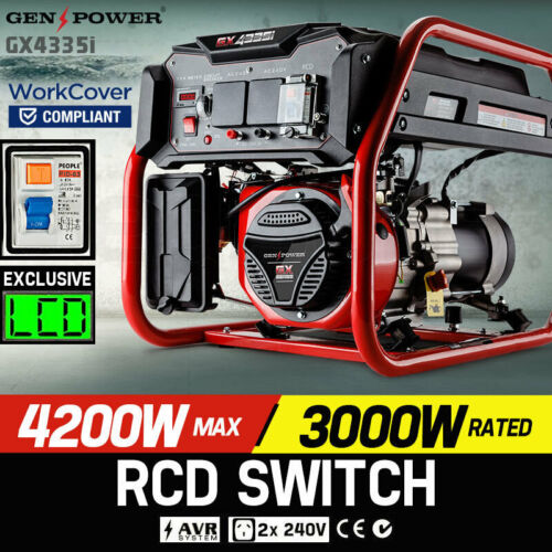 NEW GENPOWER 4.2kVA Max 3kVA Rated Generator Single-Phase Petrol - Site Portable <br/> Extra 10% OFF, Use code COZZIE at checkout, T&amp;Cs Apply.