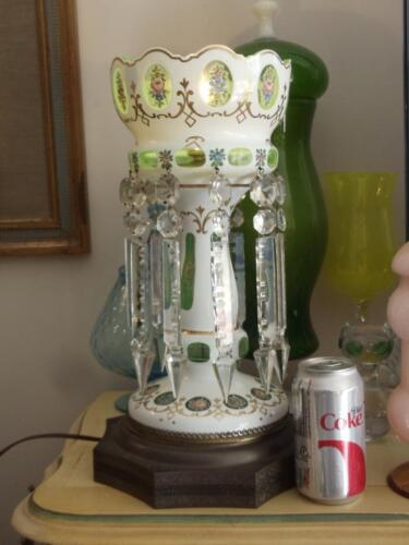 ANTIQUE BOHEMIAN CZECH HAND PAINTED GREEN CASED GLASS CRYSTAL LUSTRE TABLE LAMP<br/>Other Bohemian/Czech Art Glass - 989