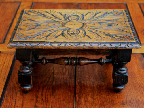 Antique English Carved Oak  PETITE Foot Stool Bench Kitchen Kettle Stand Table