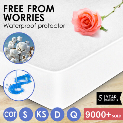 Fully Fitted Waterproof Cotton Mattress Protector All Sizes Pillow Cover <br/> 100% Waterproof - 5 Year Warranty - Easy care