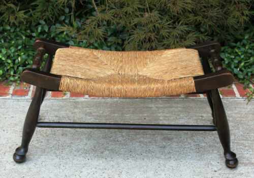 Antique French Country Dark Oak Wide Curved Rush Seat Bench Foot Stool